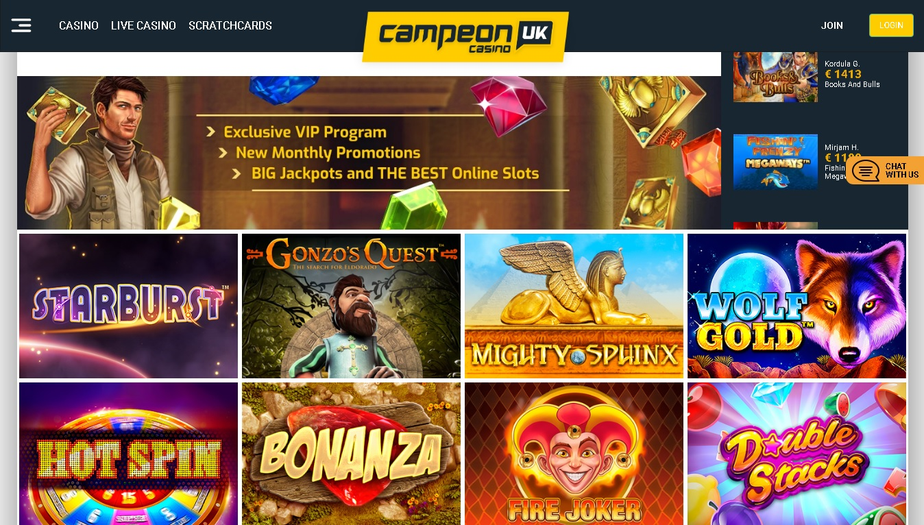 CampeonBet review – Book of Dead and Fire Joker among popular games.